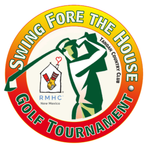 Swing fore the house golf tournament logo with illustrated golfer figure