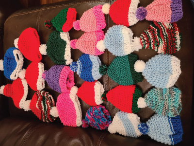 hand crocheted hats for donation to rmhc-nm