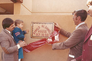 vintage photo of ribbon cutting ceremony for RMHC New Mexico